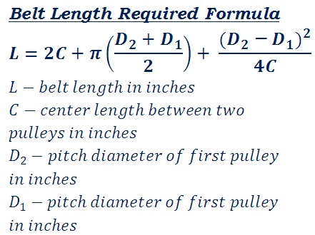 formula to calculate v or flat belt length required to connect two pulleys for mechanical power transmission