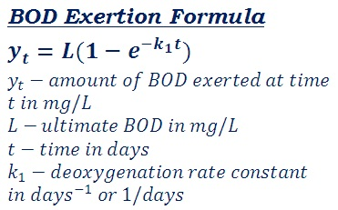 formula to measure the amount of BOD exerted at time t