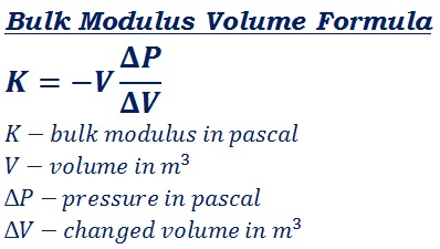 formula to calculate bulk modulus volume