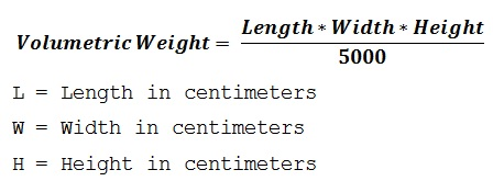 formula to calculate the shipment dimensional weight based on centimeters