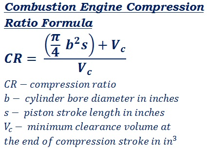 formula to calculate combustion engine compression ratio