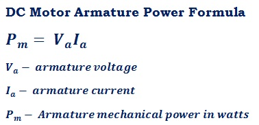 formula to calculate DC motor armature mechanical power