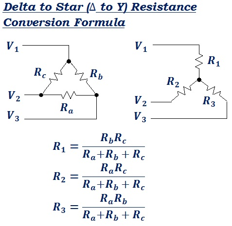 formula to convert Delta to Star (Δ to Y) equivalent resistance