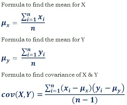 covariance formula to find the linear dependency between two data sets
