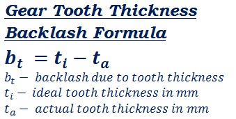 formula to calculate backlash due to gear tooth (train) thickness Backlash
