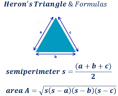 formula to find area & perimeter of herons triangle