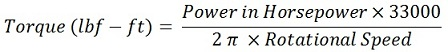 Horsepower to torque conversion Formula and Calculation