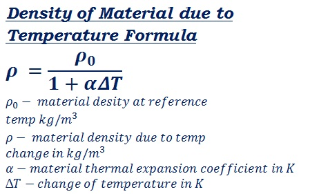 formula to calculate metal density change