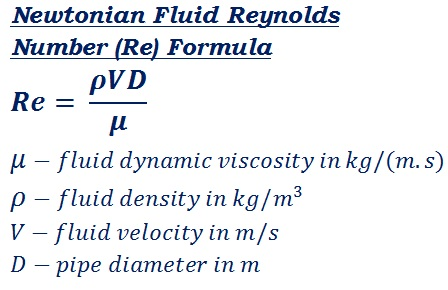 formula to calculate Newtonian fluid flow reynolds number