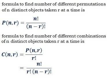 formula to find different number of permutations nPr & combinations nCr