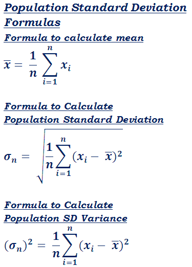 formula to calculate standard deviation for entire population data