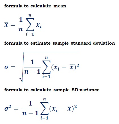 formulas to estimate sample standard deviation
