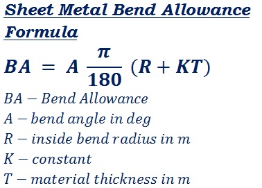 formula to calculate bend allowance of any material