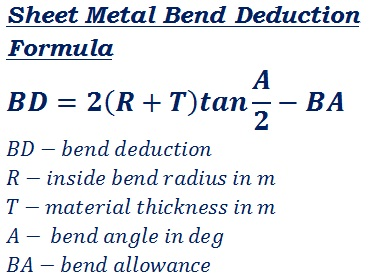 formula to calculate right angle bend deduction of any material