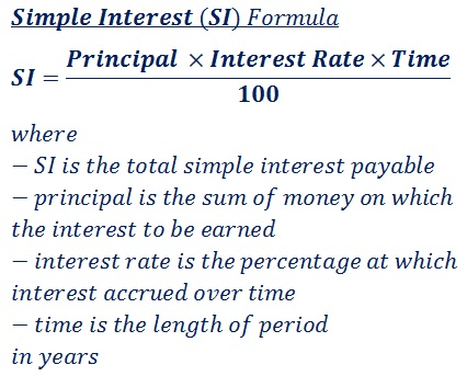 formula to calculate simple interest (SI) payable