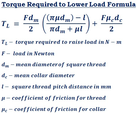 formula to calculate torque required to lower load (T<sub>L</sub>) for square thread power transmission