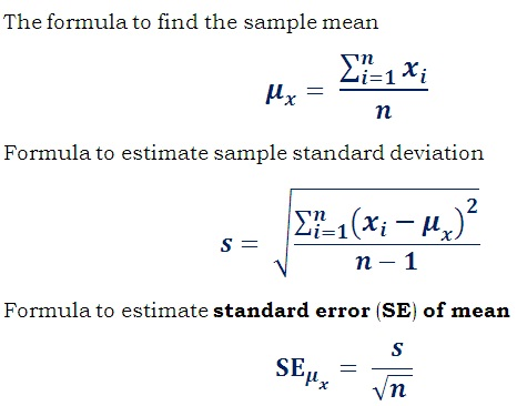 formula to estimate standard error (SE) of mean (SEM)
