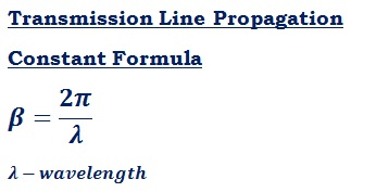 formula to calculate propagation constant (β) of transmission line