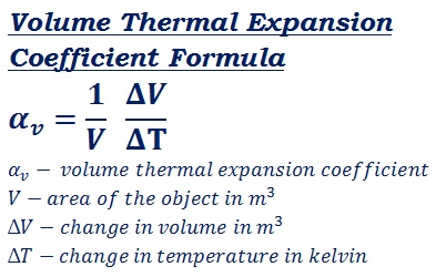 formula to calculate volume thermal expansion coefficient