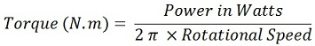 Watts to torque conversion Formula and Calculation