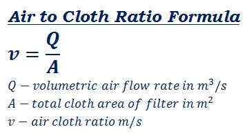 formula to calculate air to cloth ratio