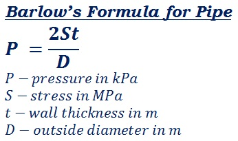 formula to calculate internal pressure capacity of pipe