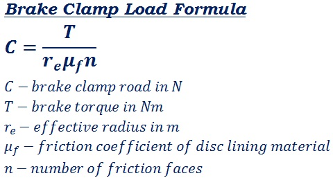 formula to calculate total load supplied by the braking system