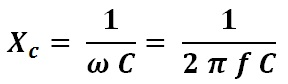 formula to calculate capacitance reactance