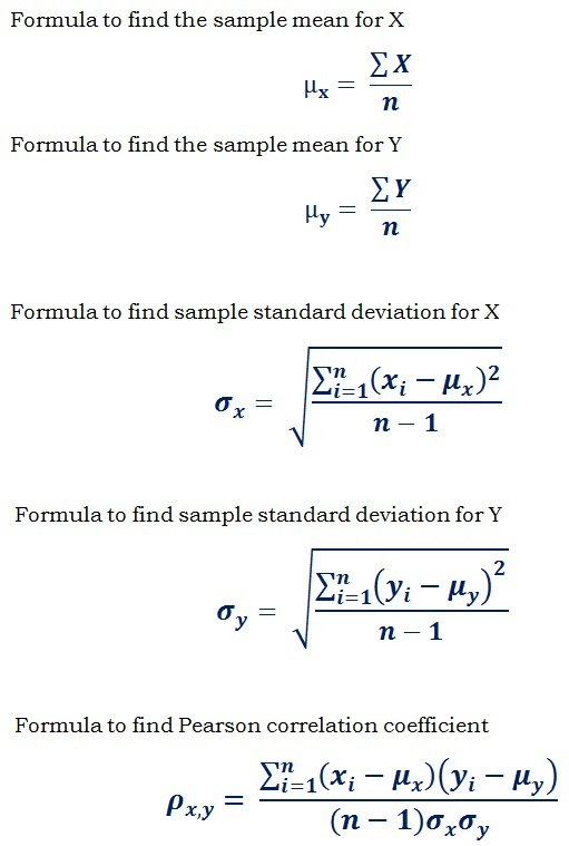 formulas to calculate pearson correlation coefficient