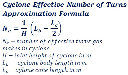 formula to calculate approximate effective number of turns of cyclone\