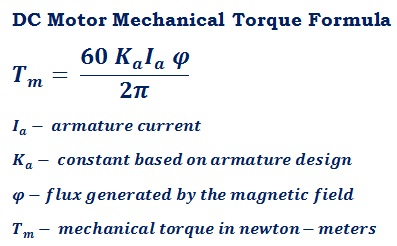 formula to calculate DC motor armature mechanical torque