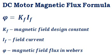 formula to calculate DC motor (EMF) magnetic field flux φ