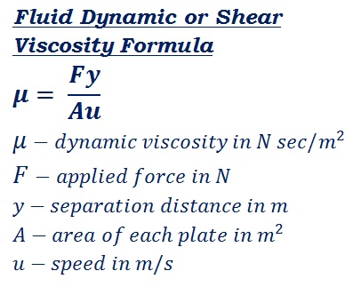formula to calculate fluid resistance to gradual deformation by shear stress