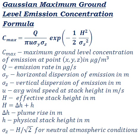 formula to measure the maximum ground level emission concentration