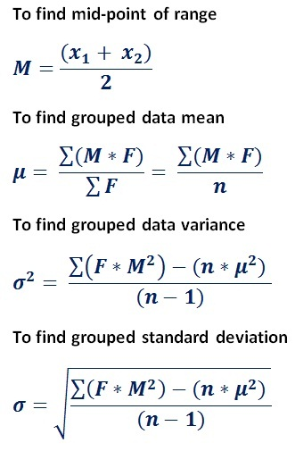formula to find mean, standard deviation & variance for frequency distribution table data