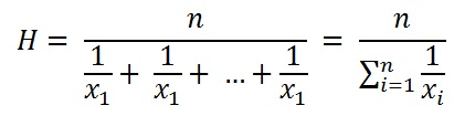 formula to calculate Harmonic Mean