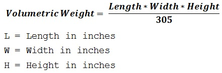 formula to calculate the shipment dimensional weight based on inches