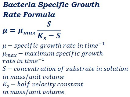 formula to measure dependence of the bacteria growth rate on the substrate concentration