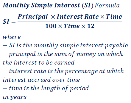 formula to calculate monthly simple interest (SI) payable
