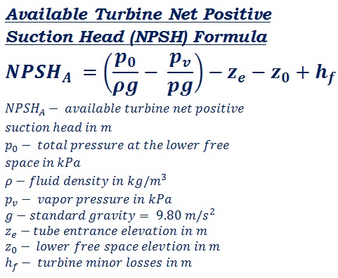 formula to calculate NPSH - turbine available net positive suction head