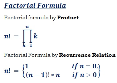 formula to find the factorial of a given number n!