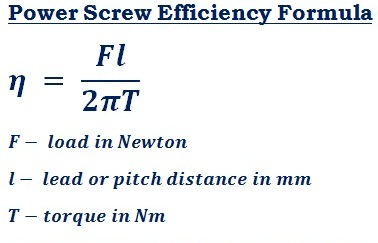 formula to calculate efficiency of the square thread power screw