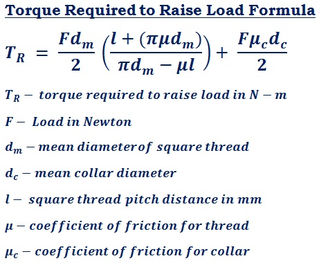 formula to calculate torque required to raise load (T<sub>R</sub>) for square thread power transmission