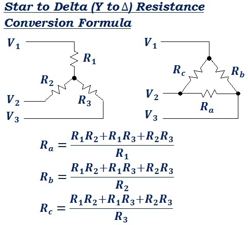 formula to calculate star to delta resistance