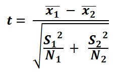 T-Test Formula to calculate differences between means of two samples