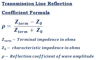 formula to calculate transmission line reflection coefficient