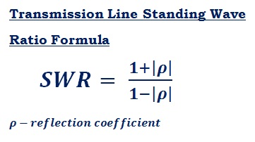 formula to calculate SWR - standing wave ratio of transmission line
