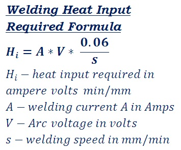 formula to calculate how much heat required for welding