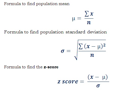 formula to find z-score of a random member of population