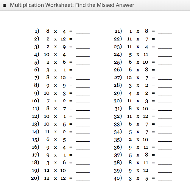 Multiplication Worksheet - Answer Missing